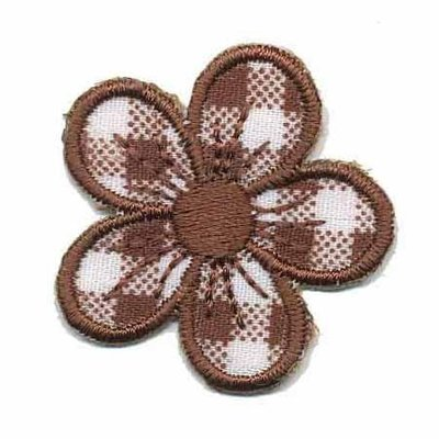 Applicatie geruite bloem bruin 30 mm (10 stuks)