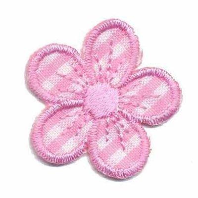 Applicatie geruite bloem roze 30 mm (10 stuks)