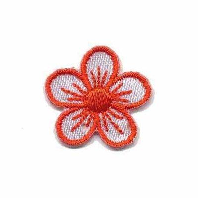 Applicatie bloem wit/rood klein (10 stuks)