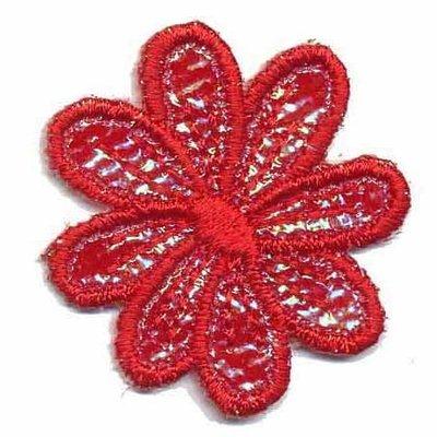 Applicatie glim bloem rood 35 mm (10 stuks)