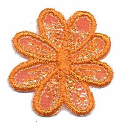 Applicatie glim bloem oranje 40 mm(10 stuks)
