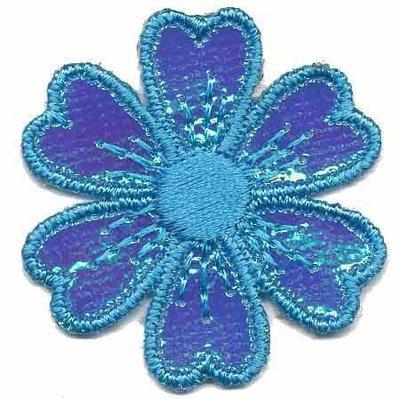 Applicatie glim bloem blauw 40 mm (10 stuks)