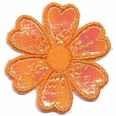 Applicatie glim bloem oranje 40 mm (10 stuks)