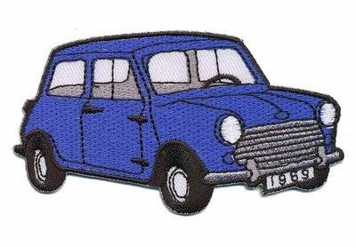 Opstrijkbare applicatie auto 'Mini' blauw (5 stuks)