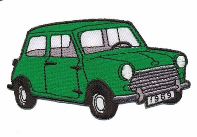 Opstrijkbare applicatie auto 'Mini' groen (5 stuks)