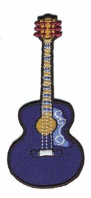 Opstrijkbare applicatie gitaar donker blauw (5 stuks)