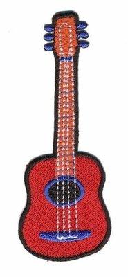 Opstrijkbare applicatie gitaar rood (5 stuks)