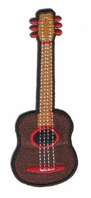Opstrijkbare applicatie gitaar bruin (5 stuks)