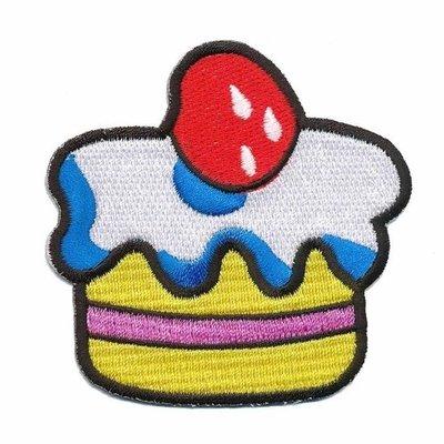 Opstrijkbare applicatie cupcake geel-roze (5 stuks)