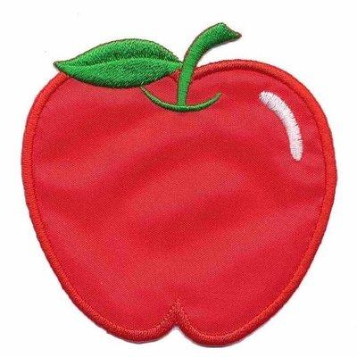 Opstrijkbare applicatie appel rood (5 stuks)