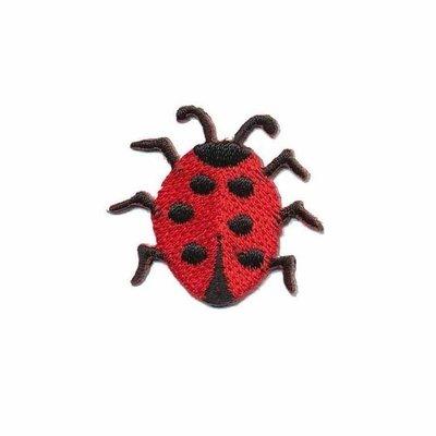 Opstrijkbare applicatie lieveheersbeestje rood (5 stuks)