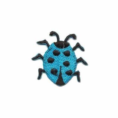 Opstrijkbare applicatie lieveheersbeestje blauw (5 stuks)