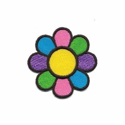 Opstrijkbare applicatie gekleurde bloem (5 stuks)