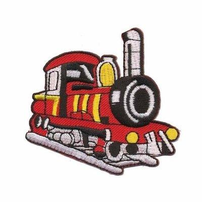 Opstrijkbare applicatie trein rood (5 stuks)