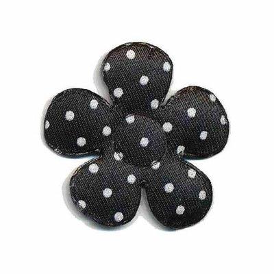 Applicatie bloem zwart met witte stippen satijn middel 35 mm (ca. 25 stuks)
