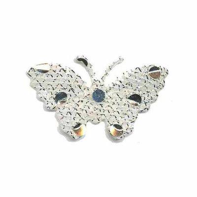 Applicatie glitter vlinder wit/zilver 40 x 25 mm (ca. 25 stuks)
