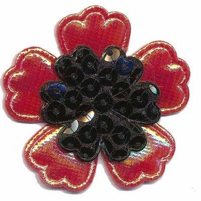 Applicatie glim/pailletten bloem rood/zwart 45 mm (10 stuks)