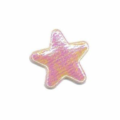 Applicatie glim ster wit/roze klein 25 mm (ca. 25 stuks)