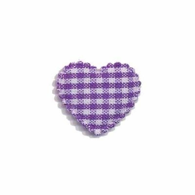 Applicatie ruitjes hart paars klein 25 x 20 mm (ca. 25 stuks)