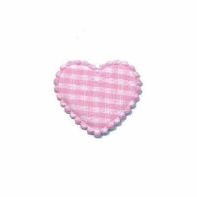 Applicatie ruitjes hart roze klein 25 x 20 mm (ca. 25 stuks)