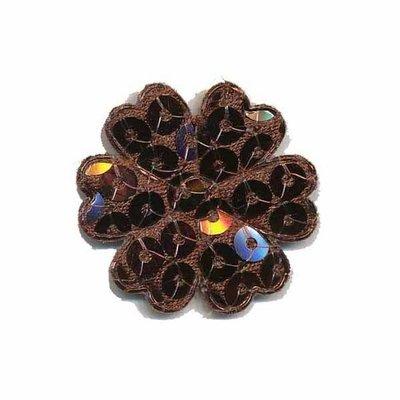 Applicatie bloem met pailletten bruin 30 mm (10 stuks)