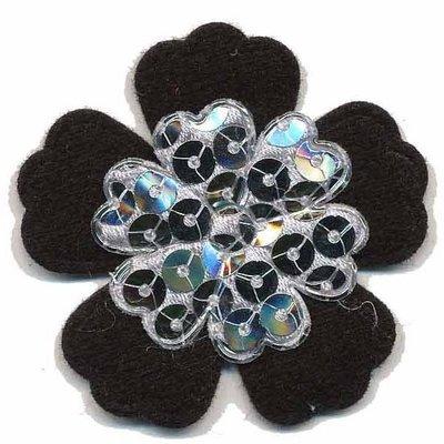 Applicatie glim/pailletten bloem zwart/zilver 45 mm (10 stuks)
