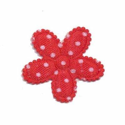 Applicatie bloem rood met witte stippen satijn middel 30 mm (ca. 25 stuks)