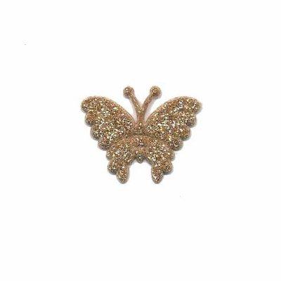 Applicatie glitter vlinder goud klein 20 x 20 mm (25 stuks)