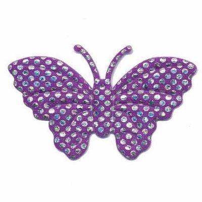 Applicatie glim vlinder paars met zilveren stippen groot 45 x 30 mm (25 stuks)