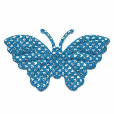 Applicatie glim vlinder petrol met zilveren stippen groot 45 x 30 mm (25 stuks)