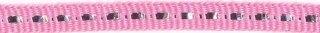 Roze band met zilverdraad 7 mm (ca. 25 m)