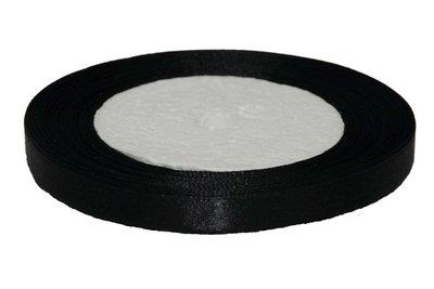 Zwart enkelzijdig satijnband 10 mm (ca. 22 m)