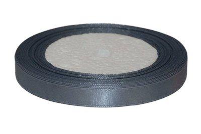Grijs enkelzijdig satijnband 10 mm (ca. 22 m)