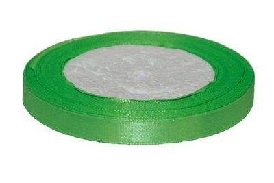 Licht groen enkelzijdig satijnband 10 mm (ca. 22 m)