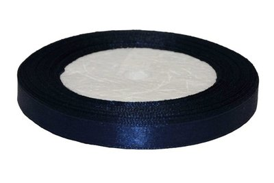 Donker blauw enkelzijdig satijnband 10 mm (ca. 22 m)