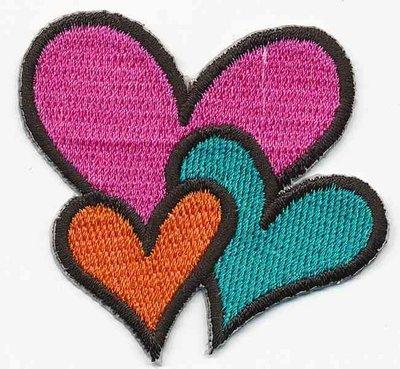 Opstrijkbare applicatie hartjes roze/blauw/oranje