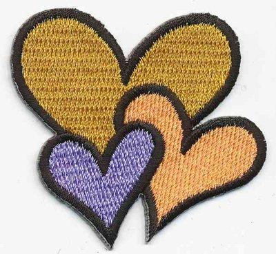 Opstrijkbare applicatie hartjes oker/licht oranje/lila