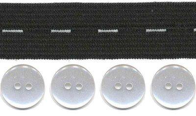 Zwart knoopsgatenelastiek (20 mm) en knopen (16 mm)