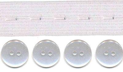 Wit knoopsgatenelastiek (20 mm) en knopen (16 mm)