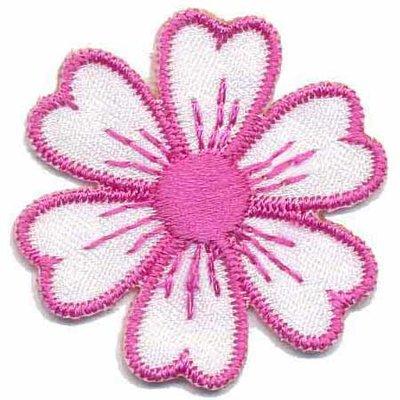 Applicatie bloem wit/roze
