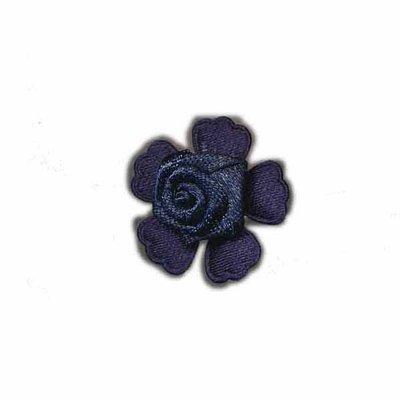 Roosje satijn op bloem donker blauw 20 mm (5 stuks)