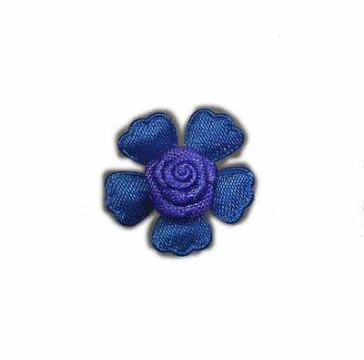 Roosje satijn op bloem kobalt blauw 20 mm (5 stuks)