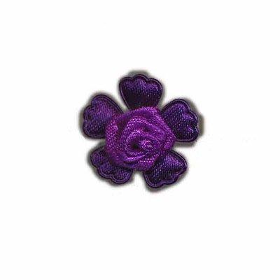 Roosje satijn op bloem paars 20 mm (5 stuks)