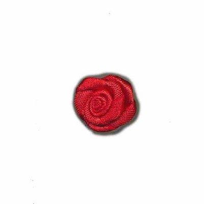 Roosje satijn rood 15 mm (5 stuks)