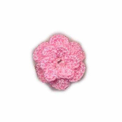 Gehaakt roosje roze 25 mm