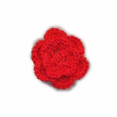 Gehaakt roosje rood 25 mm