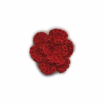Gehaakt roosje bordeaux 25 mm