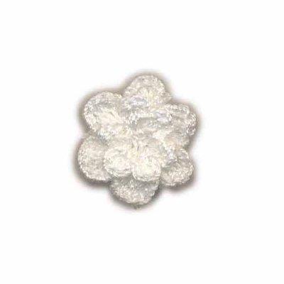 Gehaakt roosje wit 25 mm
