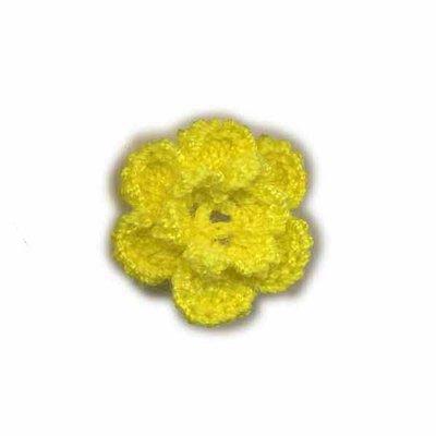 Gehaakt roosje geel 25 mm