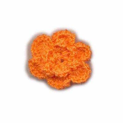 Gehaakt roosje oranje 25 mm
